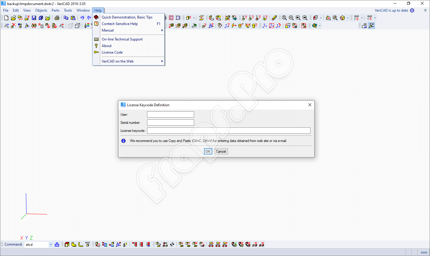 Ввод лицензионного ключа VariCAD