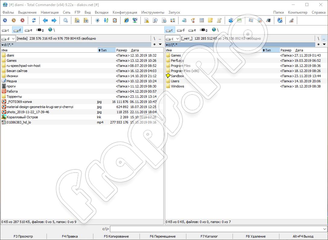 Программный интерфейс Windows Commander