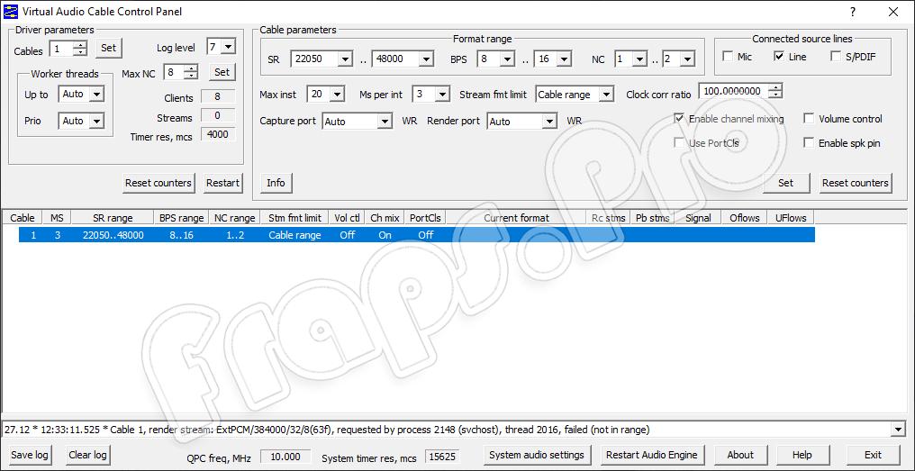 Программный интерфейс Virtual Audio Cable