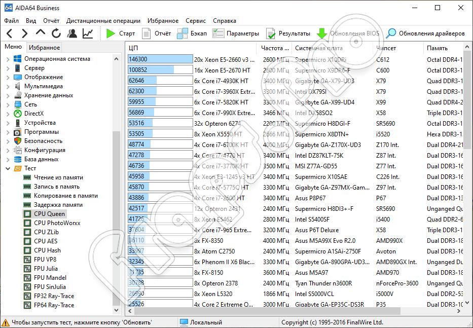 Тест процессора в AIDA64