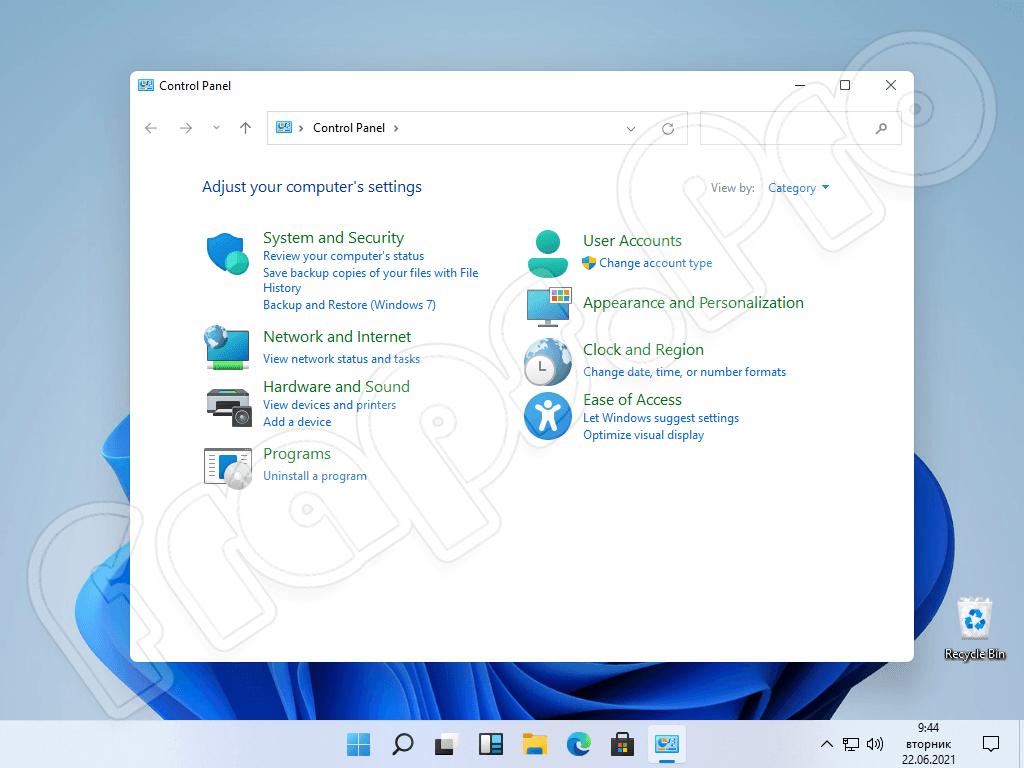 Панель управления в Windows 11