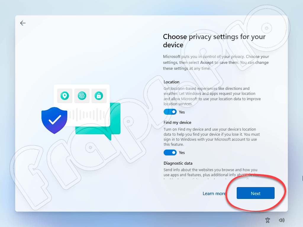 Настройки приватности при установке Windows 11